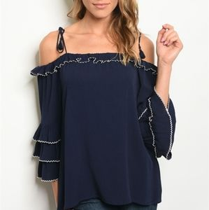 Off The Shoulder Ruffled Sleeve Top